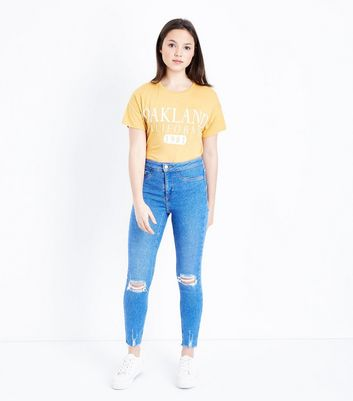 Teens Bright Blue Ripped High Waist Super Skinny Jeans
