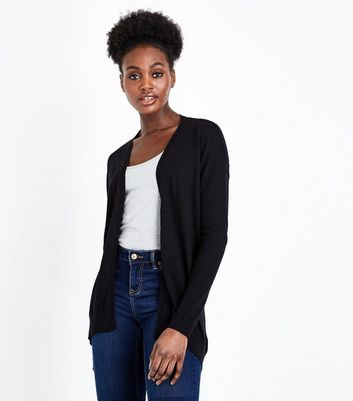 Black Pointelle Back Longline Cardigan
