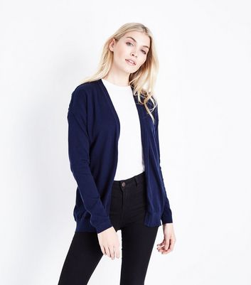 Navy Pointelle Back Longline Cardigan