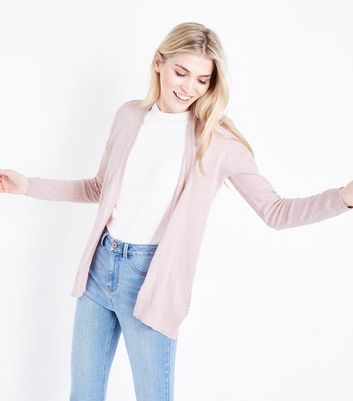 Pale Pink Pointelle Back Longline Cardigan