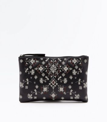 Black Cross Stitch Embroidered Zip Top Clutch Bag