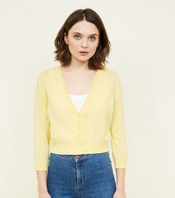 Pale Yellow 3/4 Sleeve Cropped Cardigan