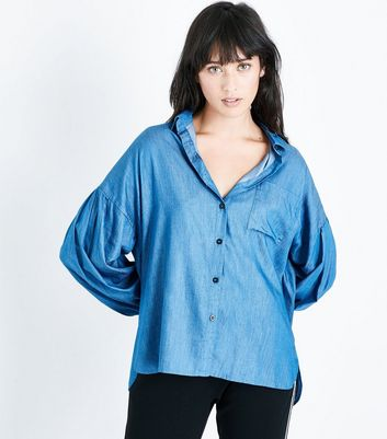Blue Balloon Sleeve Denim Shirt