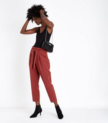 Rust Paperbag Waist Trousers
