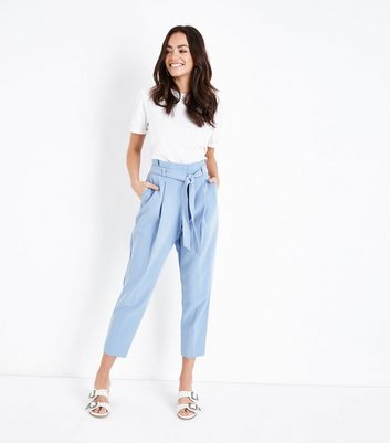Pale Blue Paperbag Waist Trousers