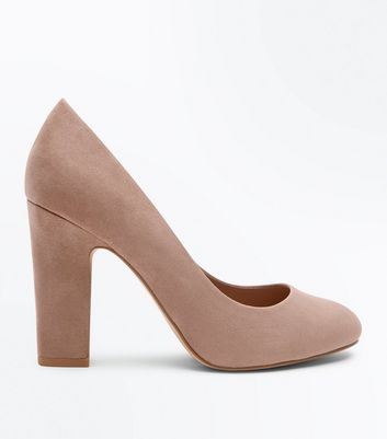 Wide Fit Light Brown Suedette Block Heel Courts