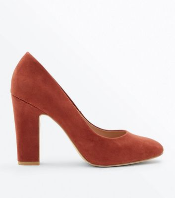 Wide Fit Rust Suedette Block Heel Courts by New Look