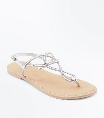 Silver Leather Gem Twist Strap Sandals
