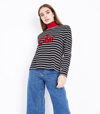 Black Stripe Oui Print Long Sleeve T-Shirt