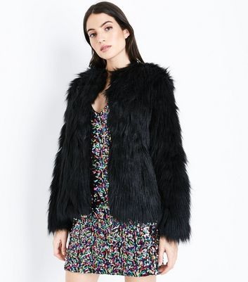 Black Collarless Fluffy Faux Fur Jacket