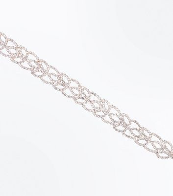 Rose Gold Diamante Leaf Choker