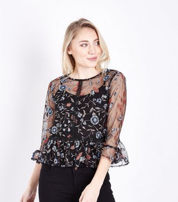 Petite Black Floral Embroidered Mesh Peplum Top