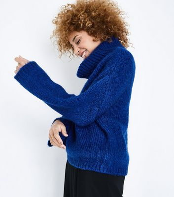 Bright Blue Cowl Neck Jumper