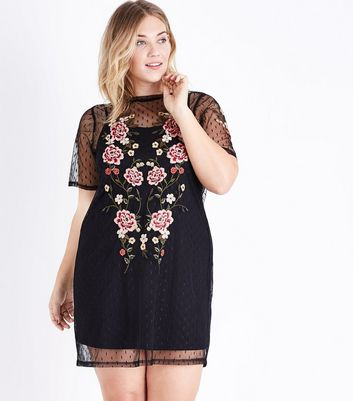 Curves Black Floral Embroidered Spot Mesh Dress