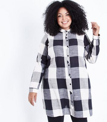 Curves Black Check Shirt Dress
