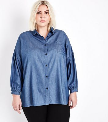 Curves Blue Balloon Sleeve Denim Shirt