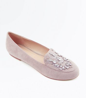 Grey Suedette Gem Embellished Loafers