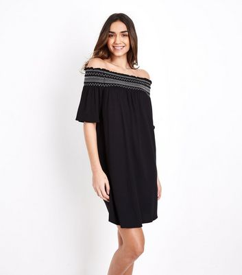 Black Shirred Bardot Neck Beach Dress