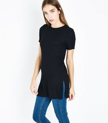 Black Ribbed Tunic Top