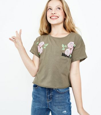 Teens Khaki Brooklyn Floral Puff Print T-Shirt