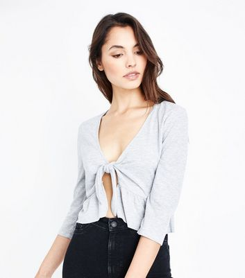 Grey Tie Front Peplum Hem Top