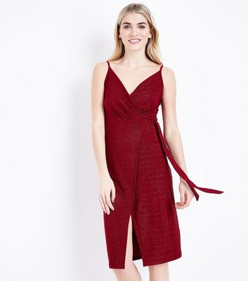 Red Glitter Wrap Front Dress