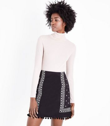 Tall Black Folk Embroidered Pom Pom Mini Skirt