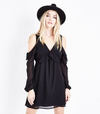 Black Frill Trim Cold Shoulder Dress