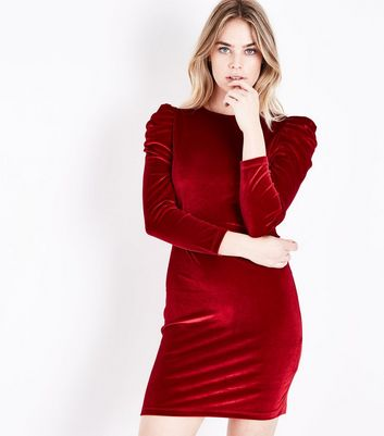 Red Velvet Ruched Sleeve Bodycon Dress