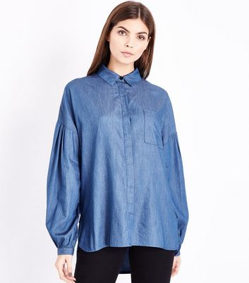 Tall Blue Balloon Sleeve Denim Shirt