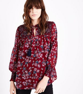 Tall Red Floral Shirred Tassel Tie Neck Blouse