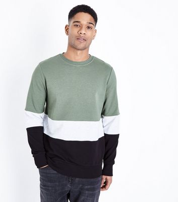 Olive Colour Block Sweatshirt