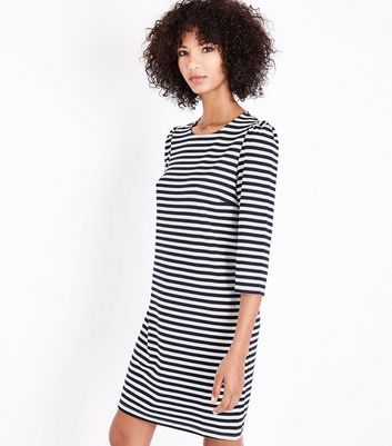 Tall Blue Stripe 3/4 Sleeve Tunic Dress