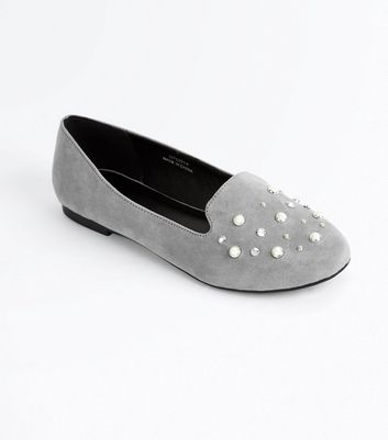 Grey Suedette Pearl Embellished Loafers
