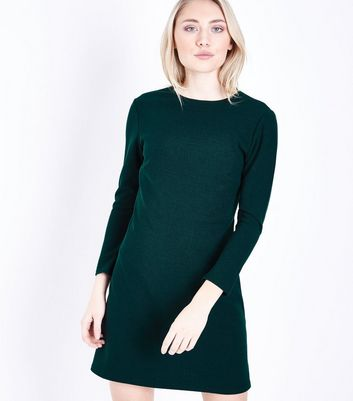 Petite Dark Green 3/4 Sleeve Tunic Dress