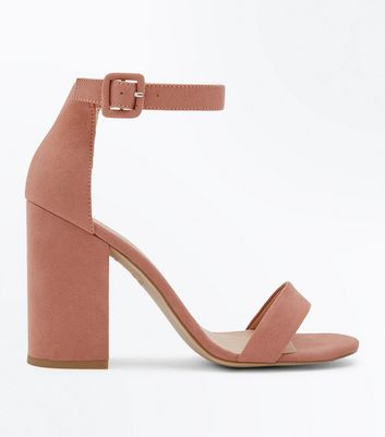 Deep Pink Suedette Ankle Strap Block Heels by New Look