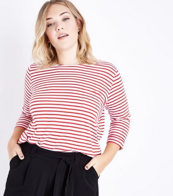 Curves Red Stripe Pocket Front T-Shirt