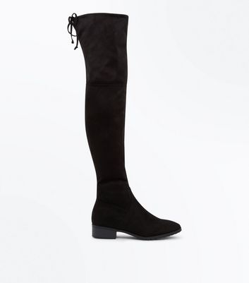 Black Suedette Cleated Over the Knee Boots