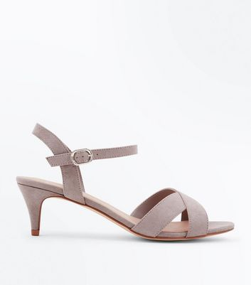 Wide Fit Grey Suedette Kitten Heel Sandals