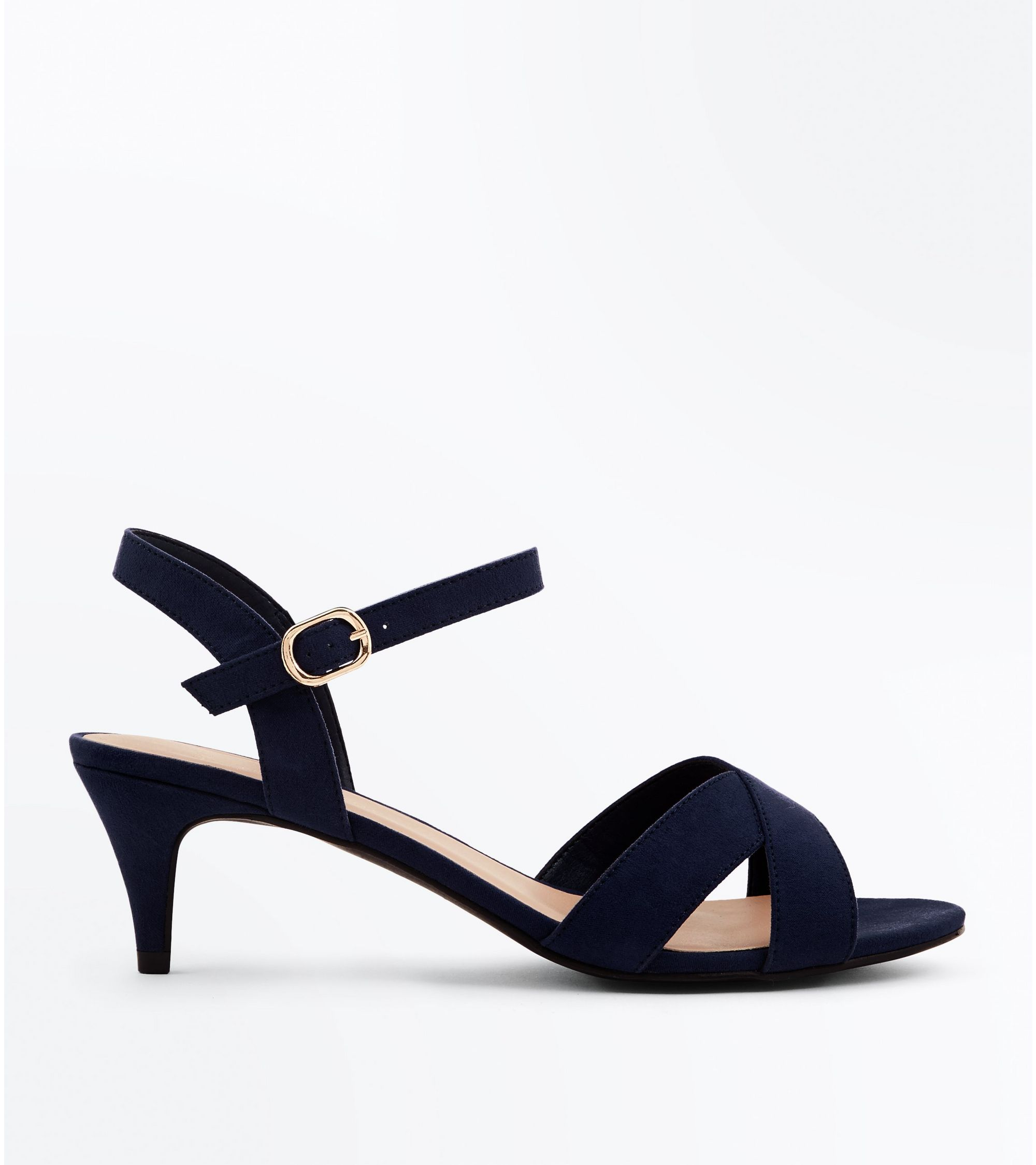 ebb65deab8 New Look Wide Fit Navy Suedette Kitten Heel Sandals at £15.99 | love ...