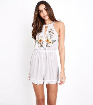 White Floral Embroidered Keyhole Beach Playsuit