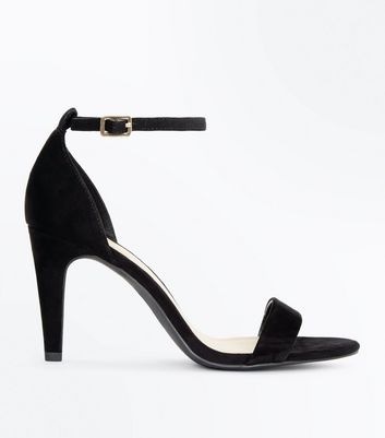 Wide Fit Black Suedette Ankle Strap Heels