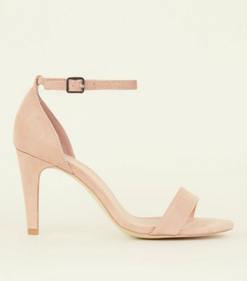 Wide Fit Nude Suedette Ankle Strap Heels