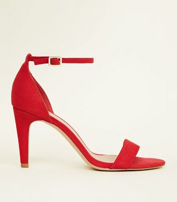Wide Fit Red Suedette Ankle Strap Heels