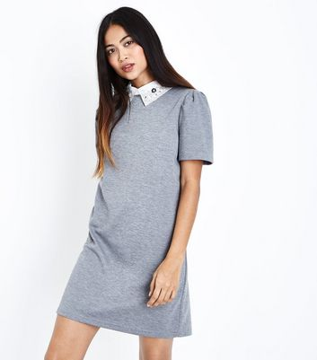 Petite Grey Embellished Collar Tunic Dress