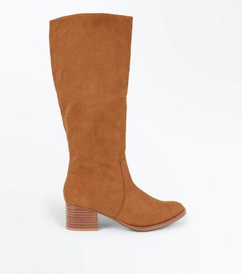 Tan Suedette Block Heel Knee High Boots