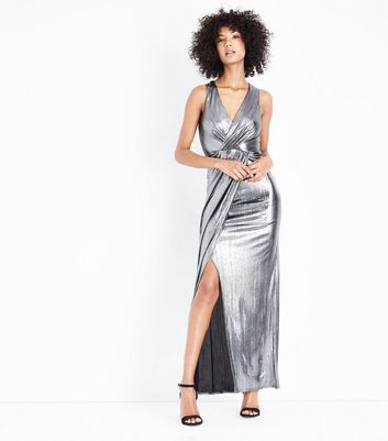 Silver Wrap Front Maxi Dress