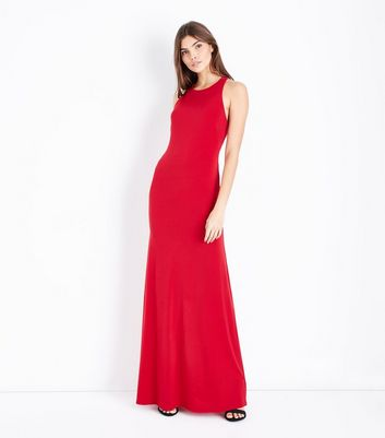 Red Cross Back Maxi Dress