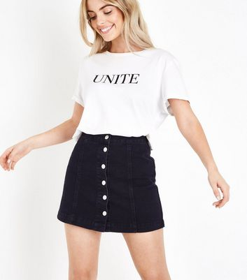 Petite Black Button Front Denim Mini Skirt