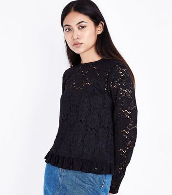 Petite Black Lace Frill Trim Top